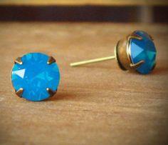 Turquoise Opal Rhinestone Stud Earrings Blue