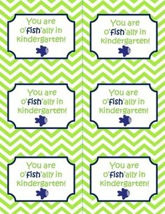 UPDATED: You are o'fish'ally in grade (kindergarten-6th grade)  tags! Print and staple these cute tags to a bag of gold fish for a sweet treat on your student's back to school night or first day of school!