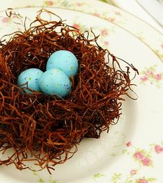 Birds nests made from dollar-store Spanish moss. Cute craft for spring or Easter - and you could fill them with mini eggs.