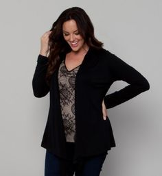 """Cotton Modal Multi-Way Bellini (0x, Black Noir) Kiyonna. $61.00. 50% Micro Modal, 50% Supima Cotton (Modal is a natural, breathable fabric). Long sleeves measures approximately at 24 ¾"""". 2x length measures approximately 30 ¾"""" from high point of shoulders to hem.. We recommend hand washing in cold water with like colors and no bleach. Lay flat to dry and low iron when needed.. Made in the USA"""