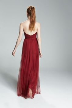 CALLA. Strapless lace bridesmaid dress with tulle skirt shown in Crimson. Available in 7 colors.