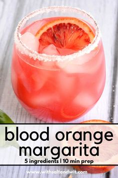 This easy blood orange margarita recipes is the best margarita recipe! It is a skinny margarita recipe can be made for one or for a crowd! With only a few ingredients, this tequila blood orange cocktail is sure to be a hit at your next party! Party Drinks, Cocktail Drinks, Fun Drinks, Cocktail Recipes, Beverages, Orange Cocktail, Juice Drinks, Drink Recipes, Booze Drink