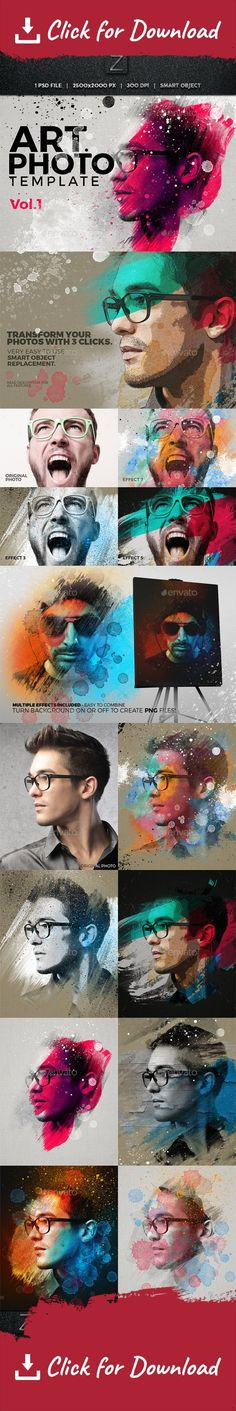 acrylic, action, art, artistic, artwork, canvas, effect, illustration, mock-up, oil, paint, painting, photo, photography, photoshop, portrait, smart object, template, texture, watercolor                                         Art Photo Template Vol.1  We are happy to present you our first finished Artistic Photo Template! The first from a series we will realease in the near future!   Transform your photos into beautiful artwork and use them in your project! So either you need a facebook…