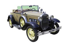 Tan and black 1931 Ford Model A Cabriolet antique car poster print.