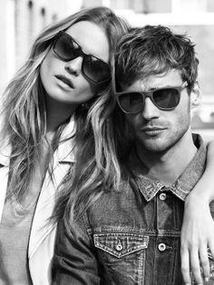 #couple #summer #fashion #sunglasses #vintage #monochrome #photography