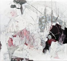 Mayako Nakamura San'nin no ayatori (The Cat's Cradle with 3 Players), 2011, mixed media (oil, ink, pigment, charcoal, pencil) on canvas