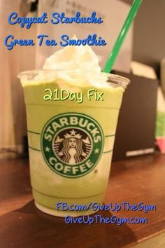 Day Fix Recipes - Copycat Starbucks Green Tea Smoothie 21 Day Fix Recipes - Copycat Starbucks Green Tea Smoothie - Give Up The Gym Day Fix Day Fix Recipes - Copycat Starbucks Green Tea Smoothie - Give Up The Gym Day Fix Recipes) Green Tea Smoothie, Tea Smoothies, Juice Smoothie, Smoothie Drinks, Healthy Smoothies, Healthy Drinks, Starbucks Smoothie, Healthy Breakfasts, Healthy Eats