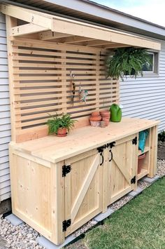 (Or backyard bar?)Shed DIY - DIY Potting Bench with Hidden Garbage Can Enclosure! Reality Daydream Now You Can Build ANY Shed In A Weekend Even If You've Zero Woodworking Experience! Cozy Backyard, Backyard Landscaping, Luxury Landscaping, Diy Landscaping Ideas, Backyard Barbeque, Sloped Backyard, Backyard Seating, Landscaping Software, Large Backyard