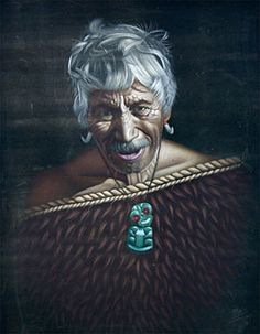 Charles McPhee Art - Old Maori Chief (Oil on velvet)