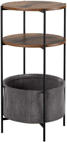 Amazon.com: Homfa Vintage Round End Table, 3-Tier Industrial Side Table Night Stand with Storage Basket Wood LookAccentFurniturewithMetalFrame: Kitchen & Dining