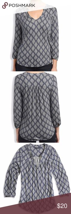 """LUCKY BRAND Diamond Tiles Top Features long sleeves with elastic cuffs, tunic neckline, draped hem and allover diamond tile print. Measures 21.5"""" across the chest and length is 22.5"""" Lucky Brand Tops Blouses"""