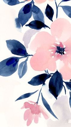 Pink and navy blue girly floral iPhone background wallpaper. - Jan Schmidt - Pink and navy blue girly floral iPhone background wallpaper. – Jan Schmidt Pink and navy blue girly floral iPhone background wallpaper. Watercolor Pattern, Watercolor Flowers, Watercolor Art, Floral Watercolor Background, Drawing Flowers, Painting Flowers, Cute Backgrounds, Cute Wallpapers, Iphone Backgrounds