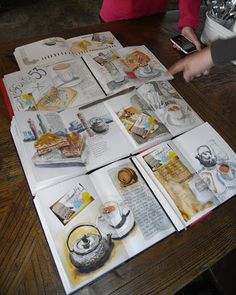 An awesome sketchbook art journal. Original pinner sez: Vignettes de la vie: Out Cafe Sketching Today!