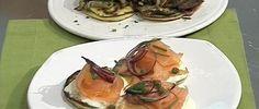 Crêpes con hongos y salmón