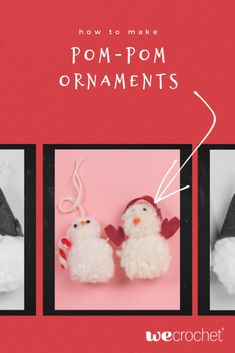 Learn how to make pom-pom ornaments: a snowman and a gnome. Use the pom-pom ornaments to decorate your holiday home. CUTENESS overload! Dollar Store Crafts, Dollar Stores, Snowman, Diy And Crafts, Craft Projects, Christmas Ornaments, Holiday Decor, How To Make, Christmas Jewelry