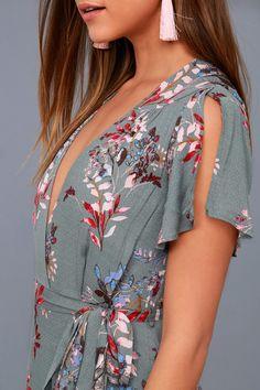 Fiorire Slate Blue Floral Print Wrap Maxi Dress 4