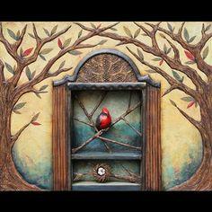 The Vermilion Flycatcher in the Secret Garden (mixed media sculpture) by ClothPaperScissors.com community member Artznut #mixedmedialove #birdsinart