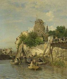 Carl Saltzmann - An der Bootsanlegestelle einer holländischer Stadt