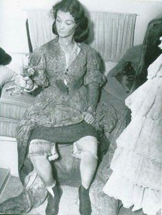 Vivian Leigh at 4 AM being made up on Gone With the Wind  Flowers were from a film crew member