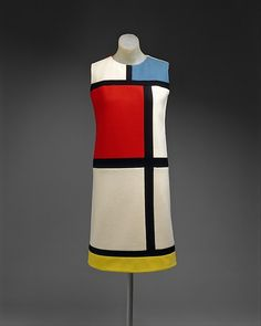 Dress- This dress reflects the mod look.  This was a look dominated by youth, young men/women working in boutiques. It consisted of simple geometric shapes and brightly colored garments that were slim fitting. It had crisp lines, which were similar to modern art of the period. Date: fall/winter 1965–66 Culture: French Medium: wool