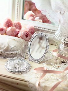 Dressing table with peonies.