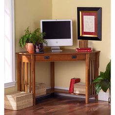 @Overstock - With its classic design and warm, comforting finish, this space-saving Mission-style computer desk complements any decor scheme. Crafted from solid oak, the desk features two shelves and a keyboard tray and fits easily into a corner to save space.http://www.overstock.com/ar/Home-Garden/Mission-style-Corner-Desk/2403982/product.html?CID=214117 EGP              1826.00