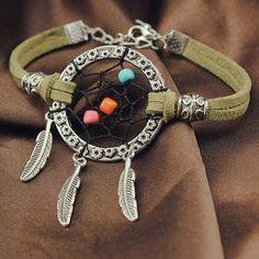 Fashion Handmade Leather Bracelets Indian Dream Catcher Bracelet&Bangle Metal Tassel Leaf Charm Bangle Jewelry For Women Trendy Bracelets, Fashion Bracelets, Bangle Bracelets, Leather Bracelets, Bangles, Handmade Beads, Handmade Bracelets, Dream Catchers For Sale, Dream Catcher Bracelet
