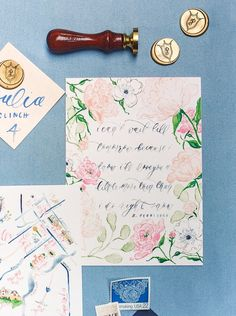 A love letter from the groom was calligraphed as an art print on the back of these wedding invitations! / Custom Watercolor Floral and Gold Foil Wedding Invitations with Watercolor Wedding Map, Custom Watercolor Wedding Crest, Gold Wax Seal and Calligraphy Envelope Liners Blush and Navy Wedding with Fuchsia, French Blue and Gold Accents | Simply Jessica Marie's Southern Wedding at Gettysvue Golf Course and Country Club in Knoxville Tennessee | Photo by Perry Vaile Photography