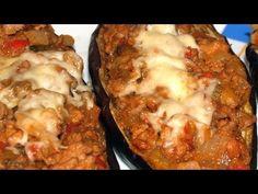 Berenjenas Rellenas Dukan - Dukan Stuffed Eggplant - Receta Fase Crucero - YouTube Dukan Diet, I Foods, Lasagna, Baked Potato, Nom Nom, Low Carb, Meat, Chicken, Recipes