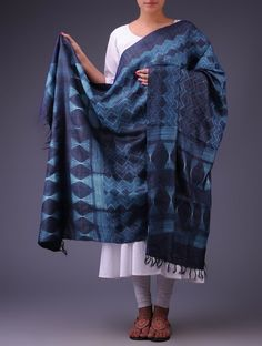 Buy vy Ecru Navy Geometric Motif Shibori Dyed Tussar Silk Dupatta Online at Jaypore.com