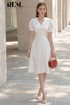 Girly Outfits, Cute Casual Outfits, Dress Outfits, Fashion Dresses, Korean Fashion Trends, Korea Fashion, Simple Dresses, Dresses For Work, Civil Wedding Dresses