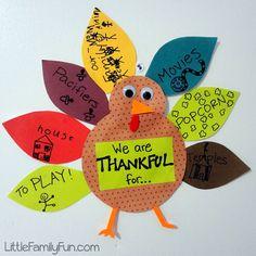 Little Family Fun: Gratitude Turkey 2012 - Thanksgiving Tradition