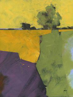 Pintura de paisaje abstracto original - forma geométrica