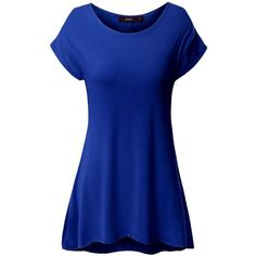 Doublju Women Short Sleeve Round Neck Loose Fit Long Tunic Top at... (77 BRL) ❤ liked on Polyvore featuring tops, tunics, loose fit tops, loose tops, short sleeve tunic, long length tops and blue top