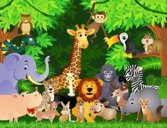 Animal cartoon Wall Mural Wallpaper from Canvas Art Rocks. This high quality wallpaper mural is custom made to your dimensions. Images Jungle, Jungle Pictures, Wild Animals Pictures, Safari Theme, Jungle Theme, Jungle Party, Cartoon Elephant, Cartoon Jungle Animals, Cartoon Wallpaper