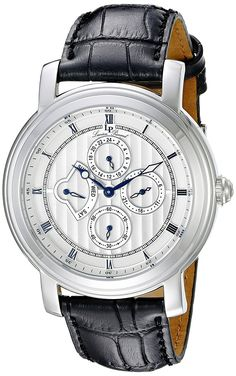 Lucien Piccard Watches Valarta Multi-Function Leather Band Watch ** Continue to the watch at the image link.