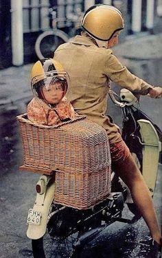 child basket - motorcycle transportation