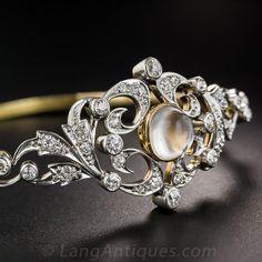 Edwardian Moonstone & Diamond Bracelet