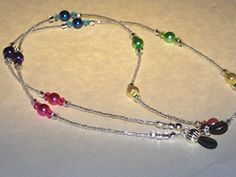 "Beaded Sunglasses Eyeglass Chain Clear Multi Color Rainbow Pearl Faceted Glass Accents 28"" Fancy Ends * Check out the image by visiting the link."