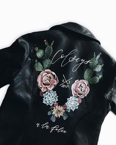 """Painted Leather Jacket Wedding Dress = Awesome """"desert vibes"""" hand painted leather jacket by Bash Creative Design; married name and date love it! Painted Leather Jacket, Custom Leather Jackets, Headpiece Jewelry, Wedding Jacket, Painted Clothes, Painting Leather, Costume, Bridal Accessories, Wedding Trends"""