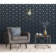 House of Alice Cubic Shimmer Metallic Wallpaper Navy Blue, Gold - Wallpaper from I Love Wallpaper UK Navy Living Rooms, Dining Room Blue, Dining Room Design, Living Room Bedroom, Living Room Decor, Dining Rooms, Bathroom Wallpaper Navy, Dining Room Wallpaper, Metallic Wallpaper
