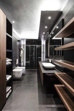 Sleek Bathroom Design- I really like the lighting here.