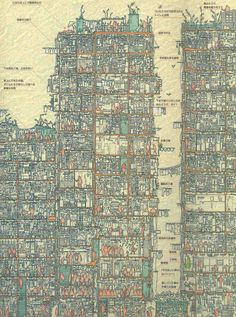 An Illustrated Cross Section of Hong Kong's Infamous Kowloon Walled City illustration Hong Kong history architecture Kowloon Walled City, Wo Ist Walter, Cross Section, Colossal Art, Architecture Drawings, Hong Kong Architecture, Kew Gardens, Plans, Pixel Art