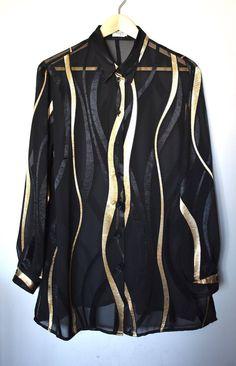 881182ba915d7 Vintage 90 s black   gold print button-up shirt  Semi-sheer black shirt   Hipster button-down shirt  Oversized statement shirt  Size 16 US