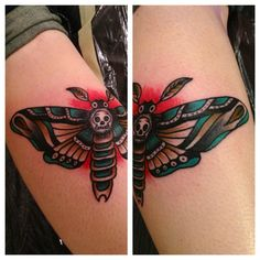 tattoo old school / traditional ink - skull butterfly