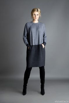 As a result you will receive High quality knitwear. Seamless knitwear is a living material which. This beautiful soft extrafine merino & cashmere tunic dress. with unique new seamless knitting technology. Sewing Clothes, Diy Clothes, Knit Fashion, Fashion Outfits, Pullover Rock, Umgestaltete Shirts, Winter Dresses, Dress Winter, Trendy Dresses