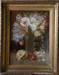 Peinture du 19ème siècle huile sur toile présentée dans un cadre ancien - Fleurs - Bouquet dans un vase en verre.