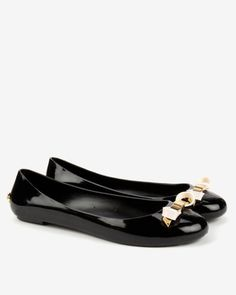 93280475099922 Slim bow jelly pumps - Black