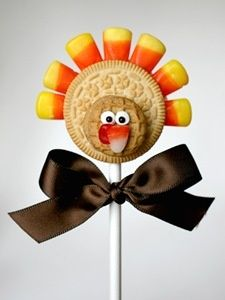 Thanksgiving Treat Turkey! Using Vanilla Oreos, Candy Corn, and maybe frosting dots for the eyes!