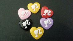 6 Mixed Barbie Head Heart Cabochon Flatbacks by Ruezats on Etsy, $2.00